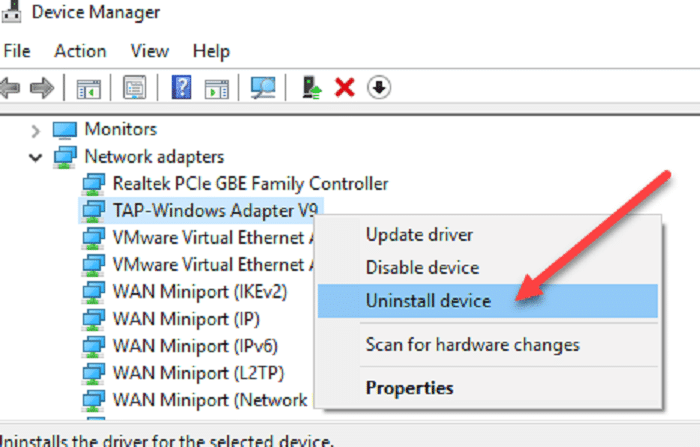 network adapter settings