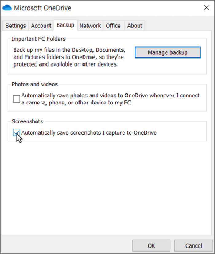 Automatically save screenshots to onedrive