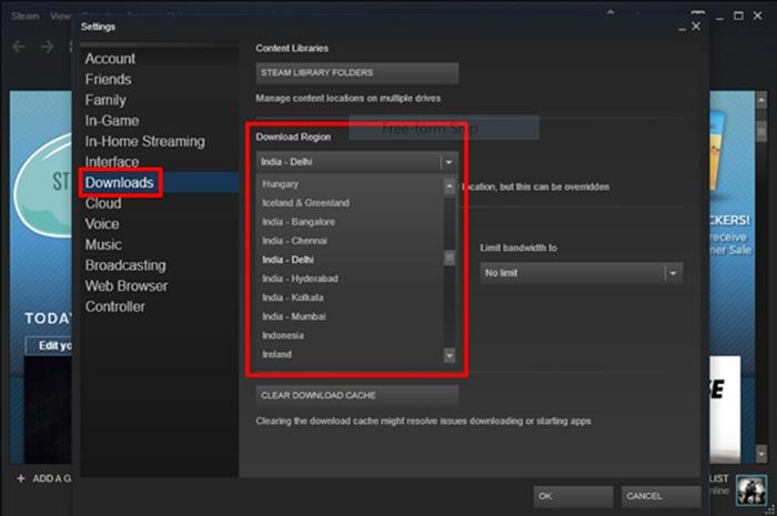 change your download region