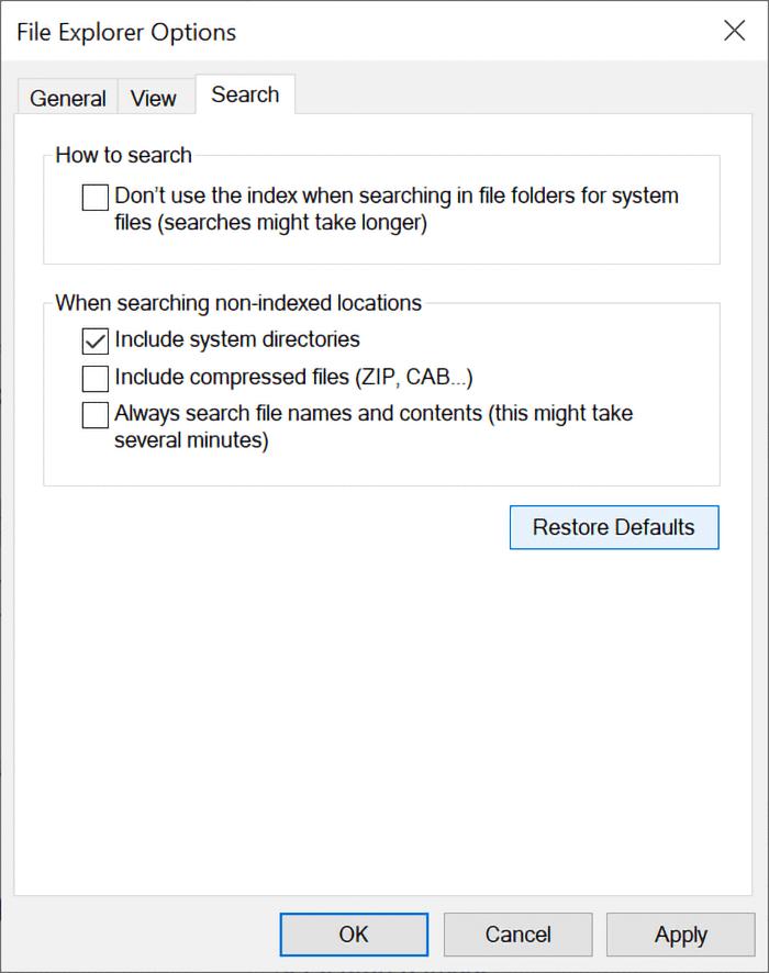 File explorer search