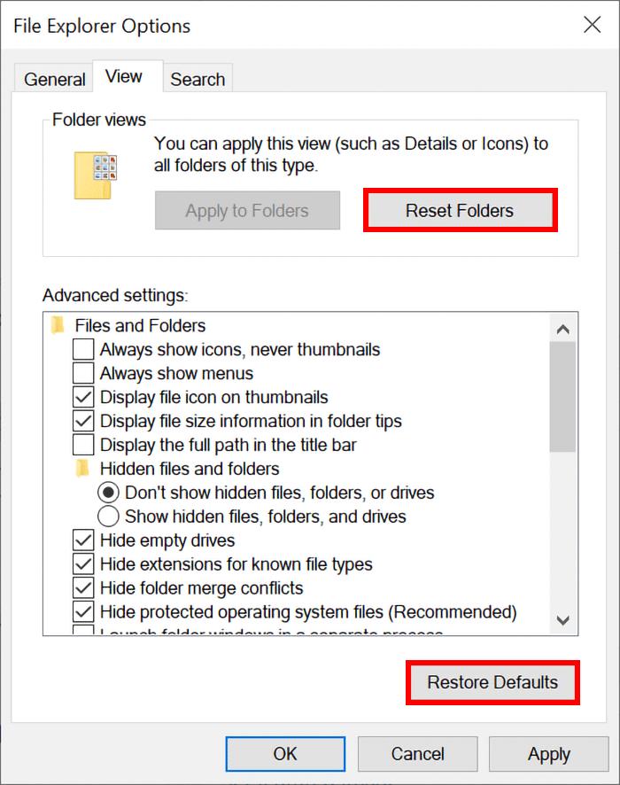 File explorer view