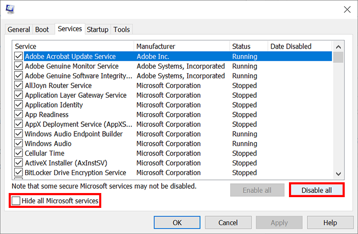 Hide all Microsoft services and Disable