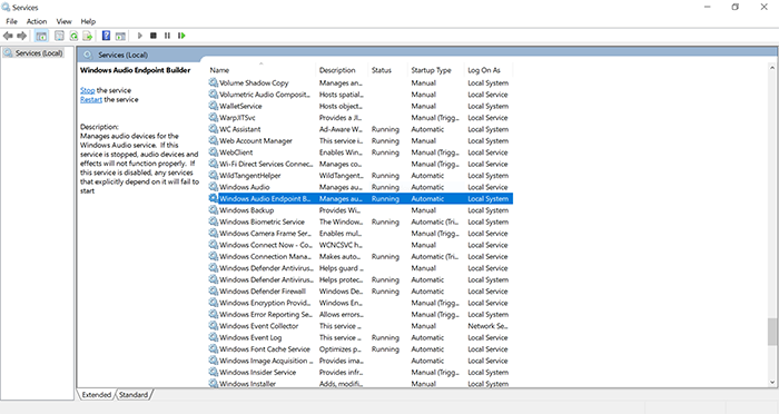 windows audio endpoint builder
