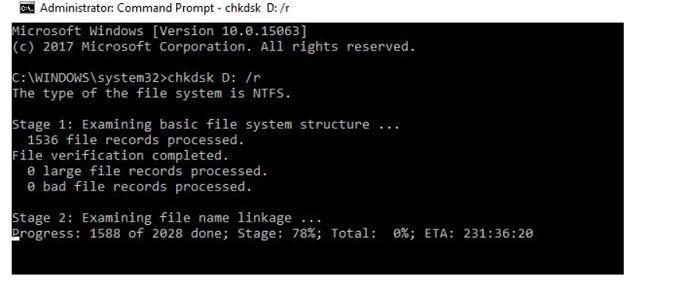 chkdsk memory management error
