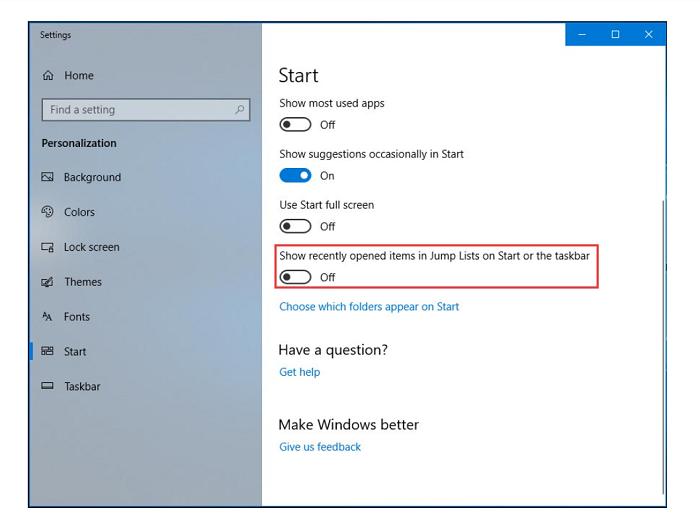disable recently opened items windows 10 taskbar frozen
