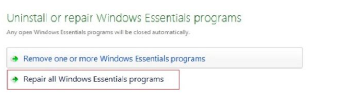 Uninstall or repair programs Windows Live Mail Won't Open