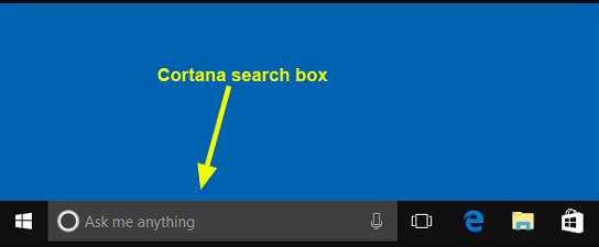 cortana search box