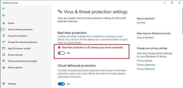 disable internet security software