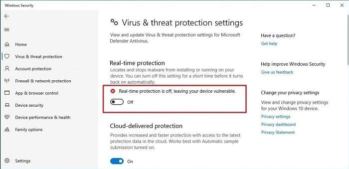 Disable antivirus