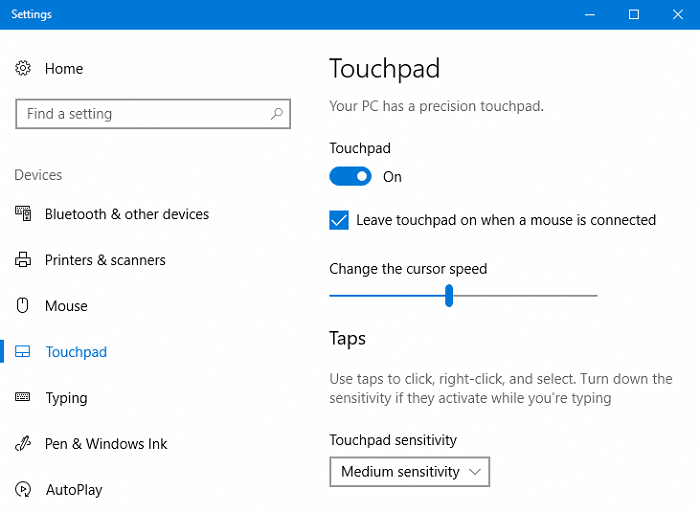 enable touchpad