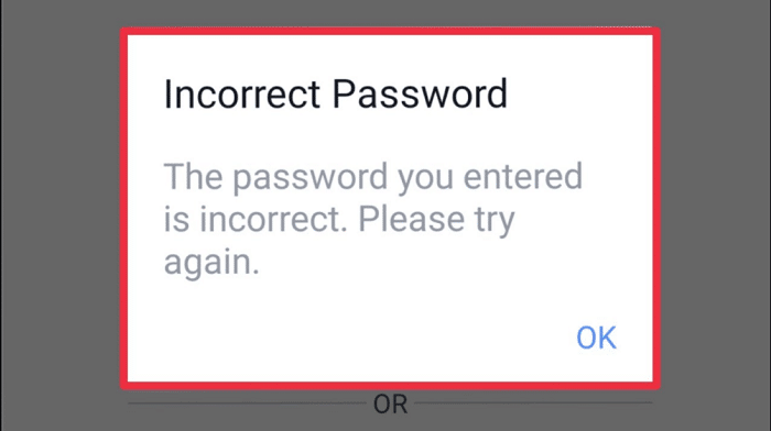 check for incorrect password