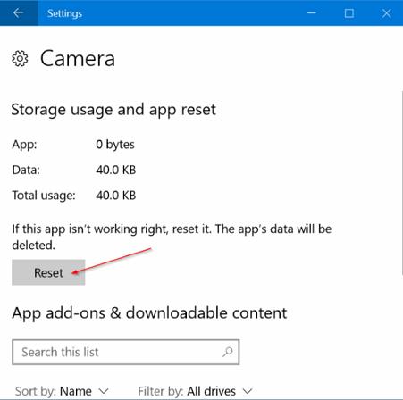 windows 10 camera reset