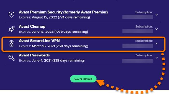 avast secureline check existing license