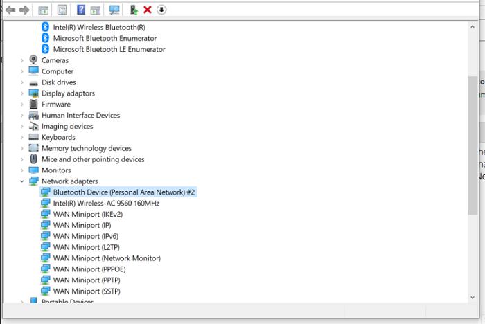 open network adapter tab