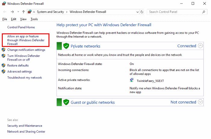 feature through windows defender firewall