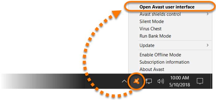 open avast user interface