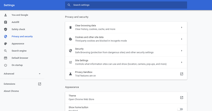 open privacy and security in chrome
