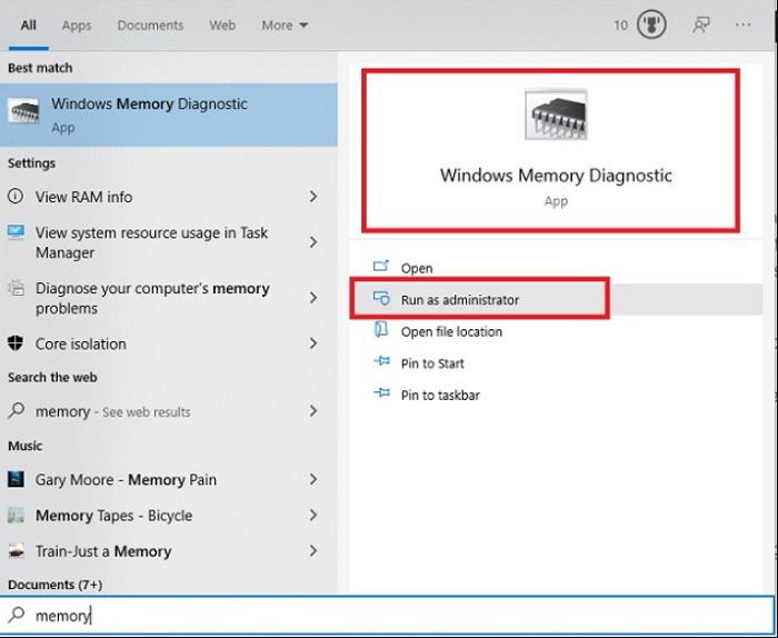 run memory diagnostics as administrator