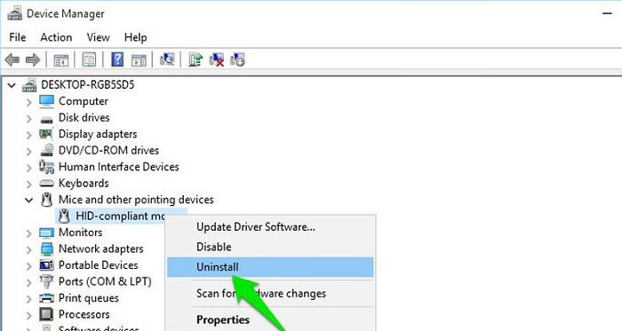 uninstall mouse in device driver