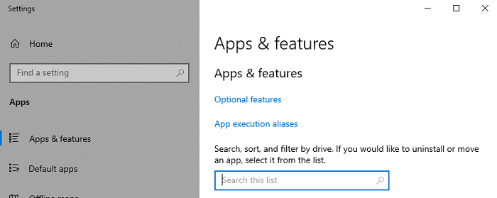 apps & features